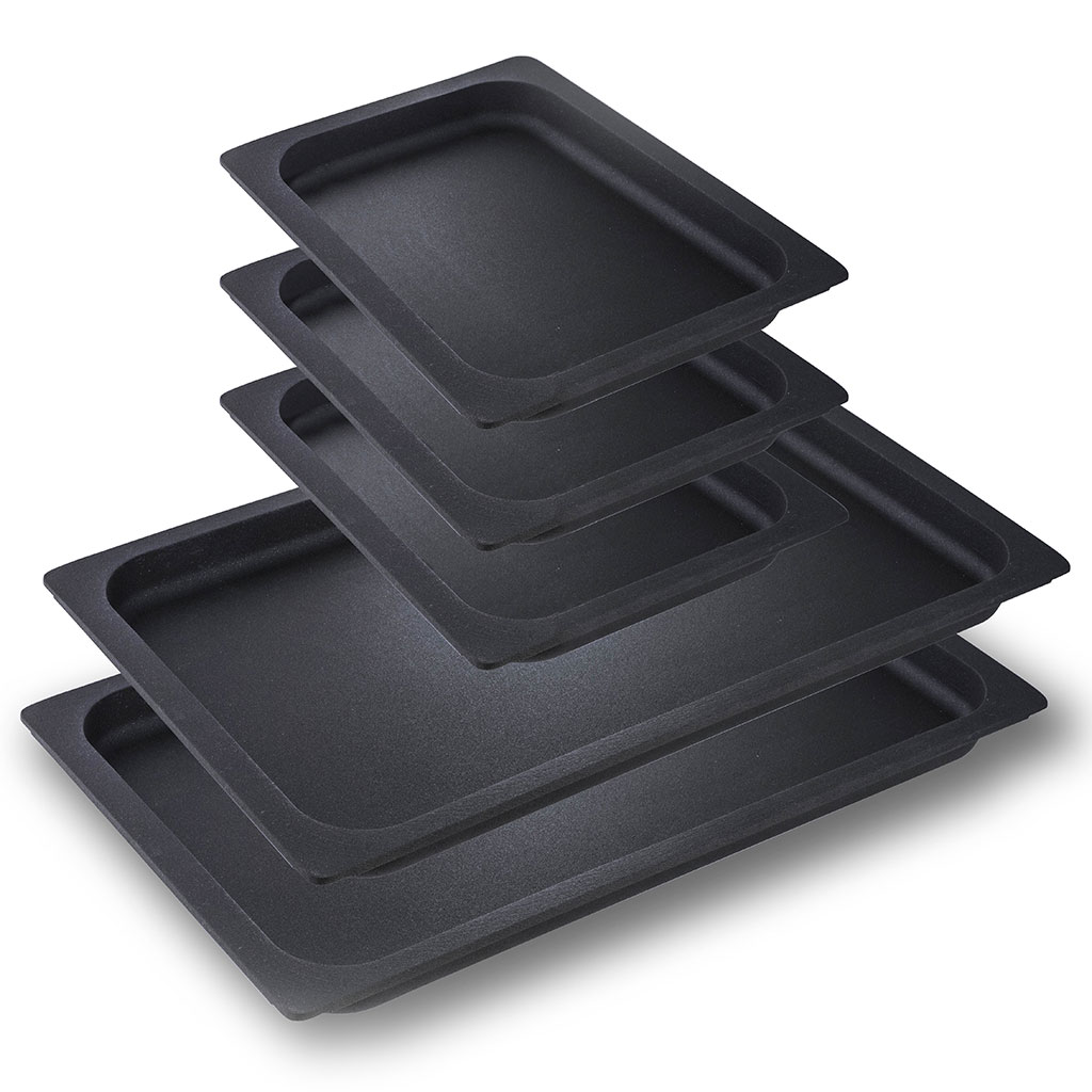 X-OVEN Aluminum non-stick trays set (2 trays gn 1/3 + 3 trays gn 1/6 h 2,5)