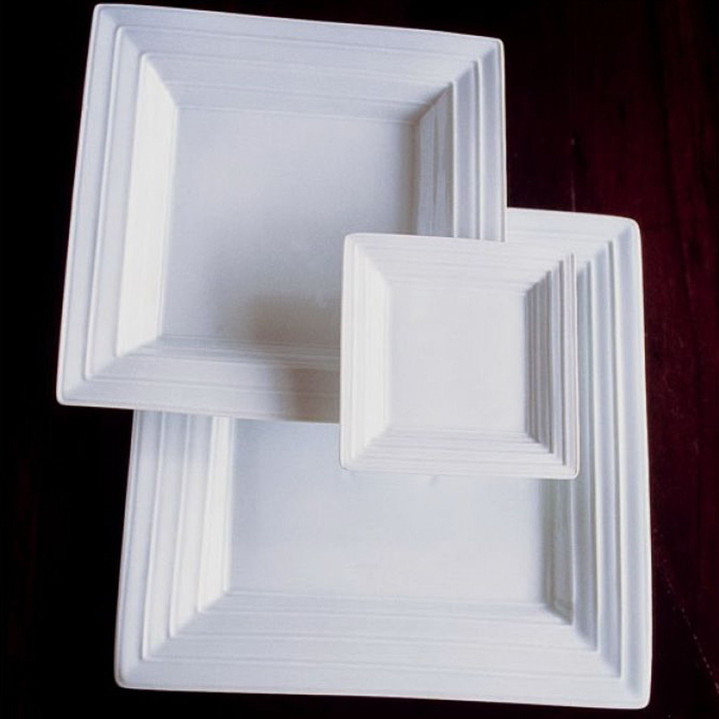 Jacques Pergay Square with design linéaire dessert plate 22x22cm